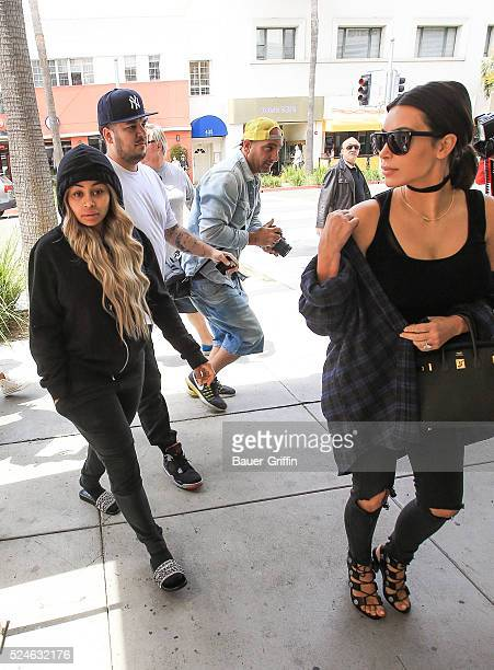 Kim Kardashian Rob Kardashian and Blac Chyna are seen on April 26 2016 in Los Angeles California