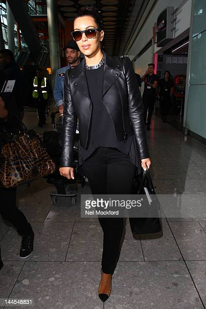 Kim Kardashian seen arriving at Heathrow Airport on May 16 2012 in London England