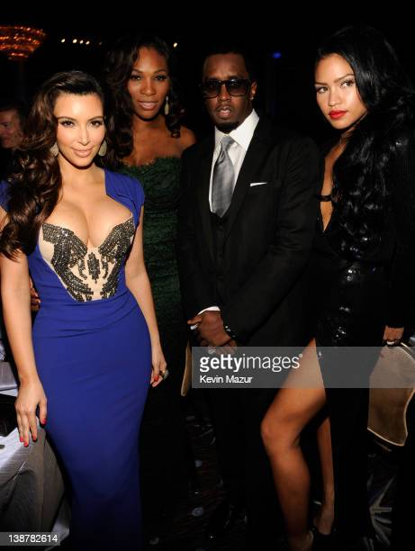 Kim Kardashian Serena Williams Sean Combs and Cassie attend Clive Davis And The Recording Academy's 2012 PreGRAMMY Gala And Salute To Industry Icons...
