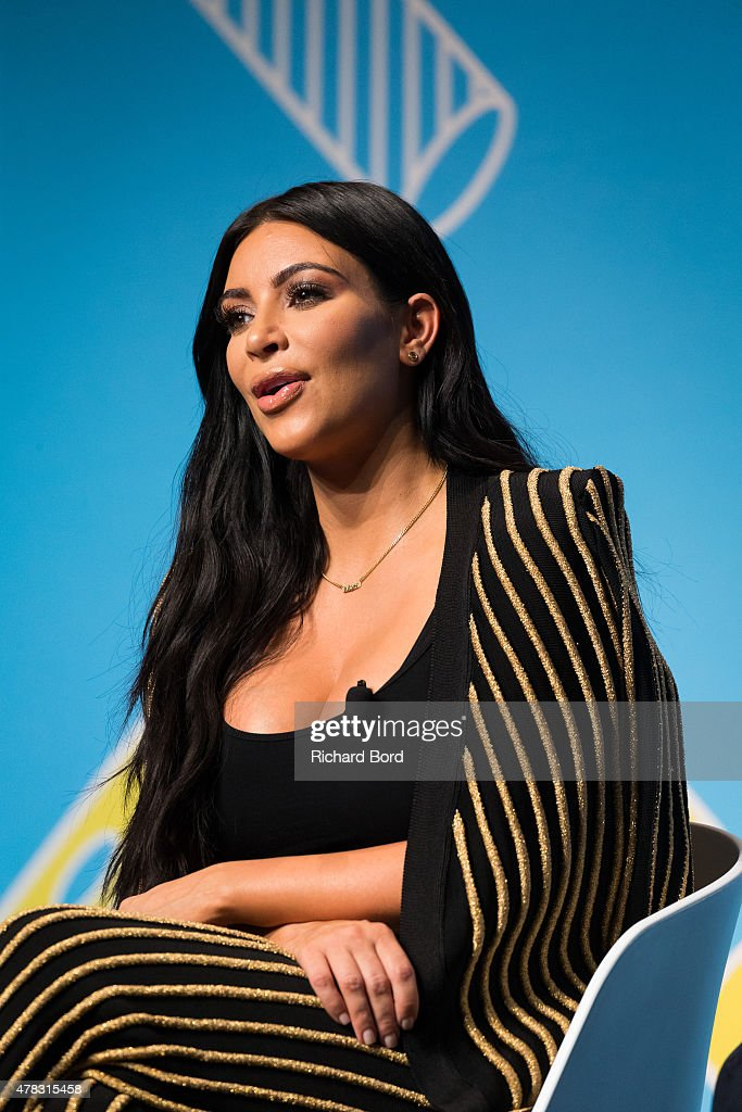 Kim Kardashian speaks on stage during the Sudler forum as part of the Cannes Lions International Festival of Creativity on June 24, 2015 in Cannes, France.