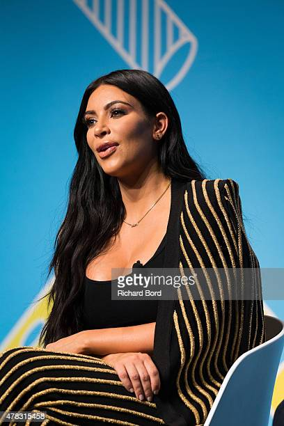 Kim Kardashian speaks on stage during the Sudler forum as part of the Cannes Lions International Festival of Creativity on June 24 2015 in Cannes...