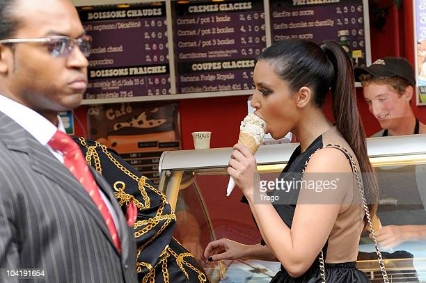 Kim Kardashian visits Ben Jerry's on September 16 2010 in Paris France