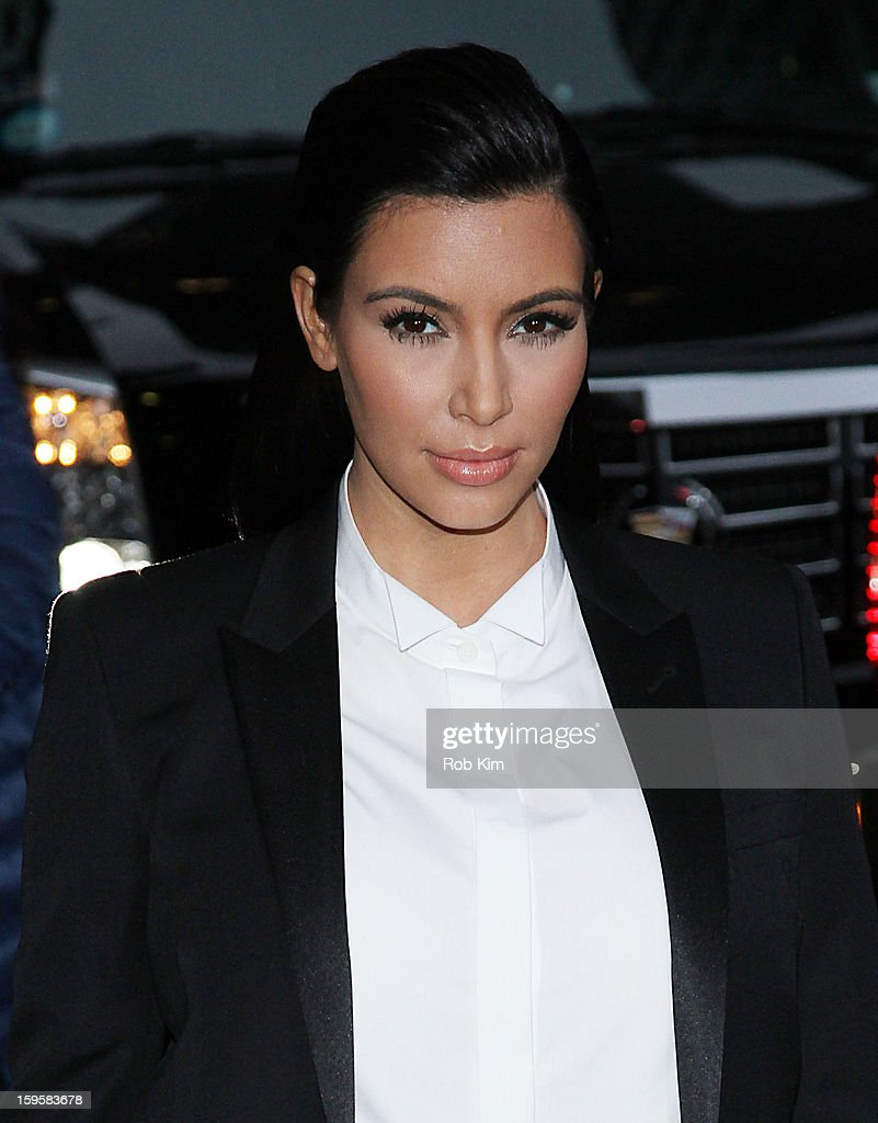<a gi-track='captionPersonalityLinkClicked' href=/galleries/search?phrase=Kim+Kardashian&family=editorial&specificpeople=753387 ng-click='$event.stopPropagation()'>Kim Kardashian</a> visits 'Late Show With David Letterman' at Ed Sullivan Theater on January 16, 2013 in New York City.
