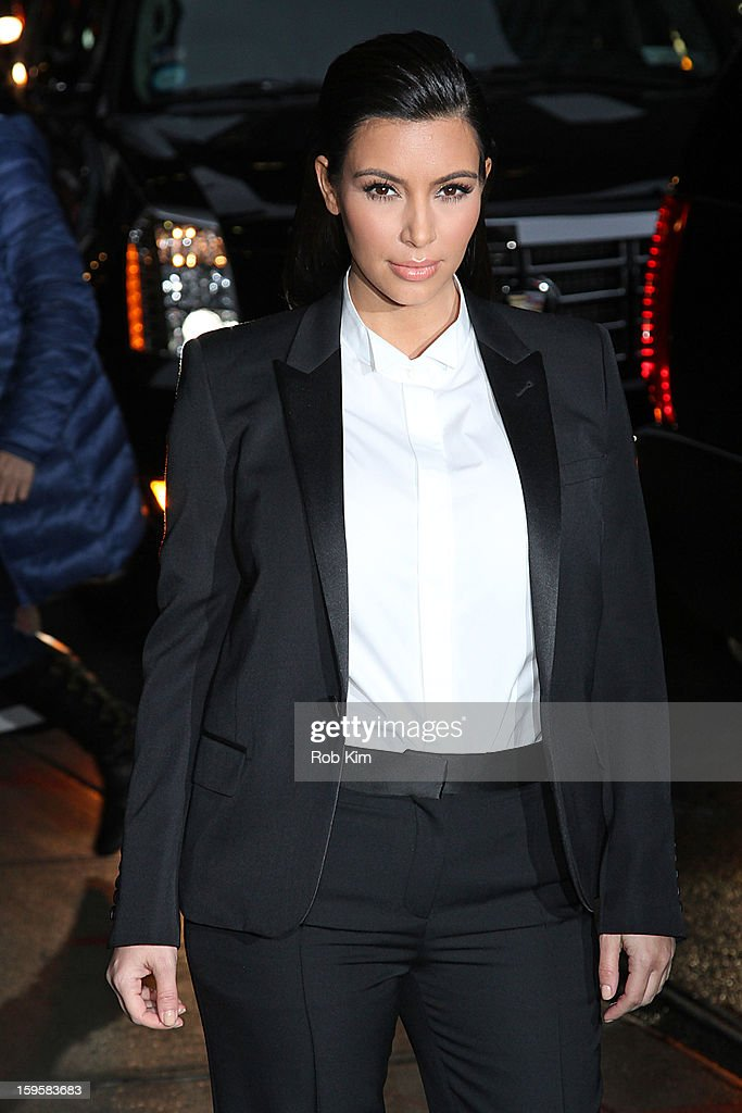 Kim Kardashian visits 'Late Show With David Letterman' at Ed Sullivan Theater on January 16, 2013 in New York City.