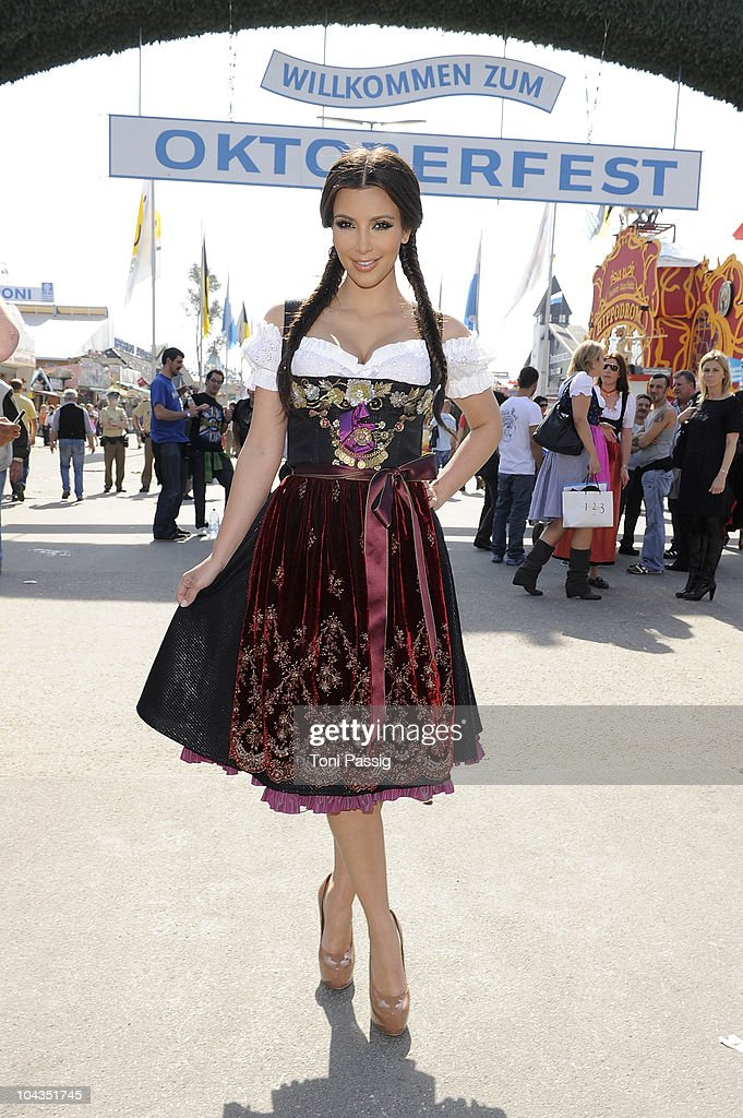 Kim Kardashian visits the Oktoberfest 2010 at Hippodrom at the Theresienwiese during her Munich visit on September 22 2010 in Munich Germany