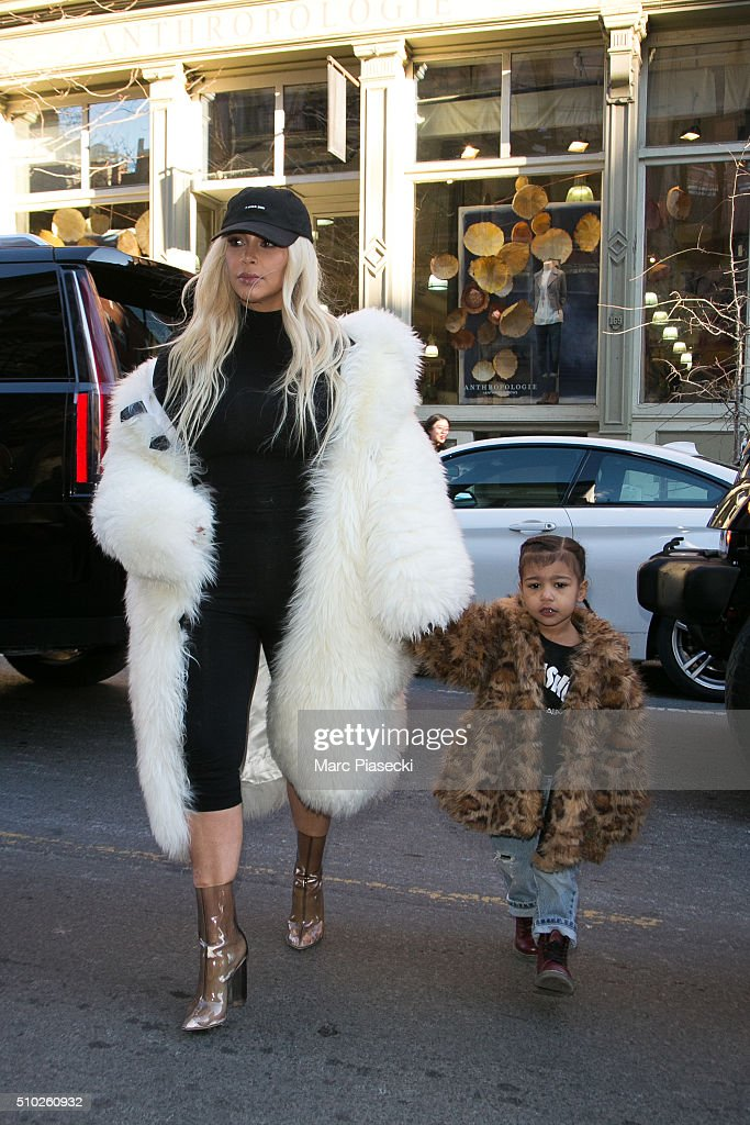 <a gi-track='captionPersonalityLinkClicked' href=/galleries/search?phrase=Kim+Kardashian&family=editorial&specificpeople=753387 ng-click='$event.stopPropagation()'>Kim Kardashian</a> West and daughter <a gi-track='captionPersonalityLinkClicked' href=/galleries/search?phrase=North+West+-+Tochter+von+Kim+Kardashian&family=editorial&specificpeople=12192758 ng-click='$event.stopPropagation()'>North West</a> are seen on February 14, 2016 in New York City.