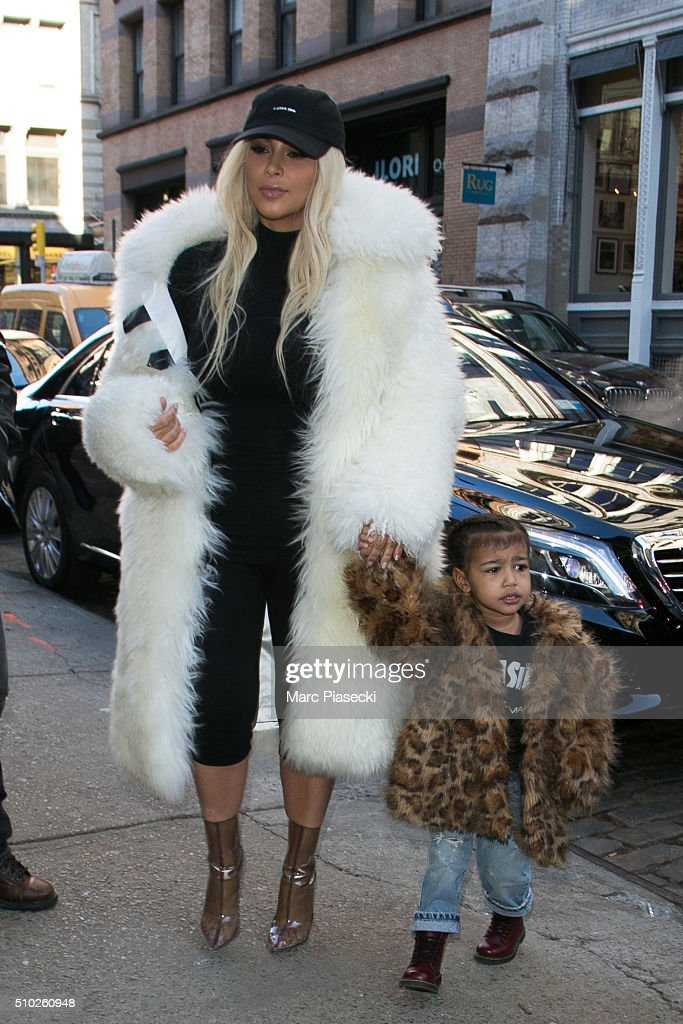 <a gi-track='captionPersonalityLinkClicked' href=/galleries/search?phrase=Kim+Kardashian&family=editorial&specificpeople=753387 ng-click='$event.stopPropagation()'>Kim Kardashian</a> West and daughter <a gi-track='captionPersonalityLinkClicked' href=/galleries/search?phrase=North+West+-+Fille+de+Kim+Kardashian&family=editorial&specificpeople=12192758 ng-click='$event.stopPropagation()'>North West</a> are seen on February 14, 2016 in New York City.