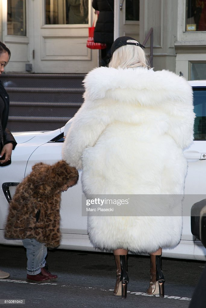 Kim Kardashian West and daughter North West are seen on February 14, 2016 in New York City.