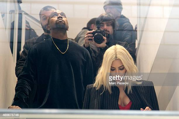 Kim Kardashian West and husband Kanye West are seen at the 'Colette' store on March 9 2015 in Paris France