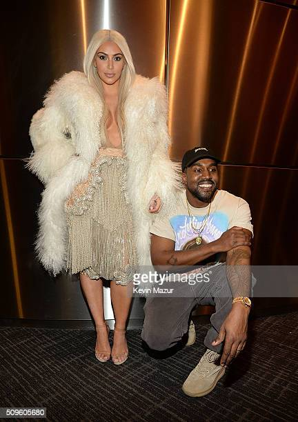 Kim Kardashian West and Kanye West attend Kanye West Yeezy Season 3 at Madison Square Garden on February 11 2016 in New York City