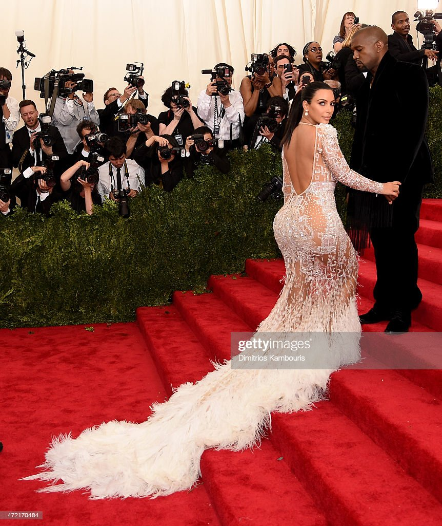 Kim Kardashian West and Kanye West attend the 'China Through The Looking Glass' Costume Institute Benefit Gala at the Metropolitan Museum of Art on...