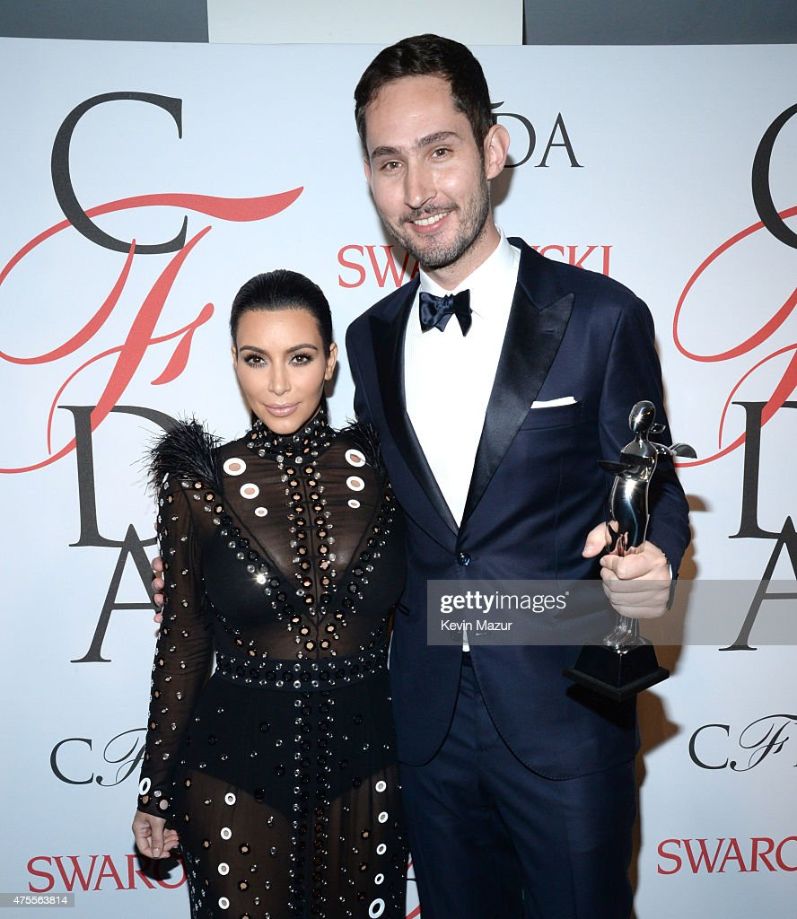 Kim Kardashian West and Kevin Systrom pose backstage at the 2015 CFDA Fashion Awards at Alice Tully Hall at Lincoln Center on June 1, 2015 in New York City.