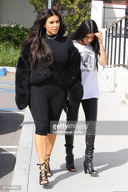 Kim Kardashian West and Kourtney Kardashian having lunch at Hugo's on March 09 2016 in Los Angeles California