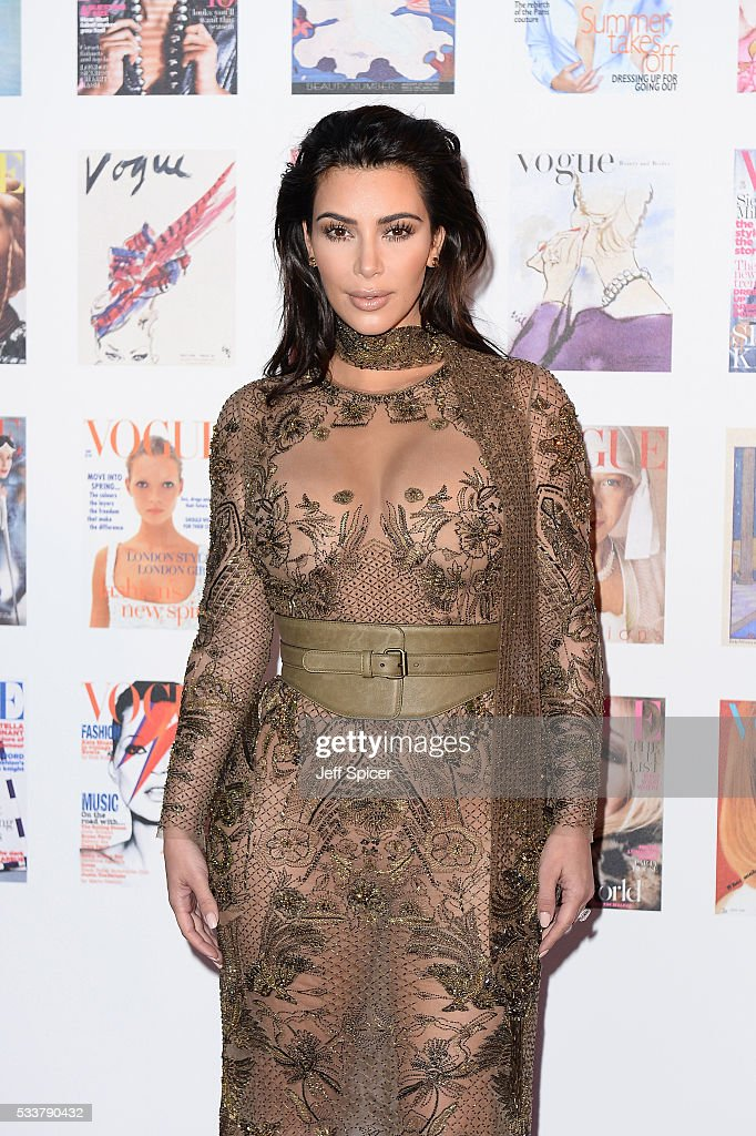 Kim Kardashian West arrives for the Gala to celebrate the Vogue 100 Festival at Kensington Gardens on May 23, 2016 in London, England.