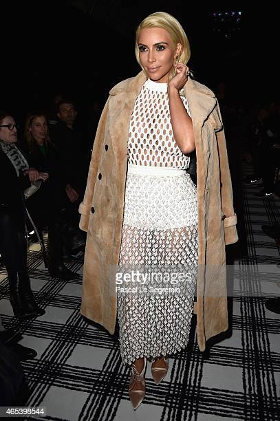 Kim Kardashian West attends the Balenciaga show as part of the Paris Fashion Week Womenswear Fall/Winter 2015/2016 on March 6 2015 in Paris France
