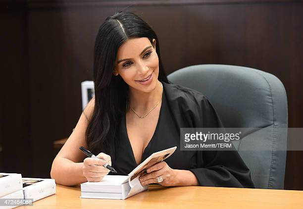 Kim Kardashian West attends the book signing for 'Selfish' at Barnes Noble bookstore at The Grove on May 7 2015 in Los Angeles California