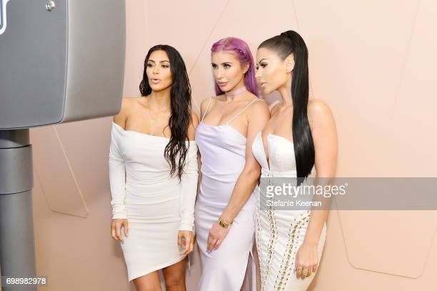 Kim Kardashian West Claudia Soare and Amra Olevic celebrate The Launch Of KKW Beauty on June 20 2017 in Los Angeles California