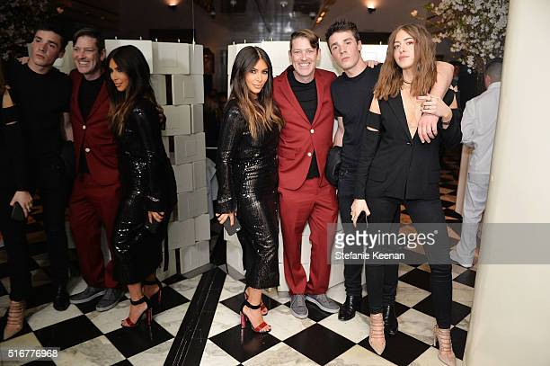 Kim Kardashian West Eddie Roche Remi Barbier and Sama Khadra attend The Daily Front Row Fashion Los Angeles Awards Private Dinner Hosted By Eva Chow...