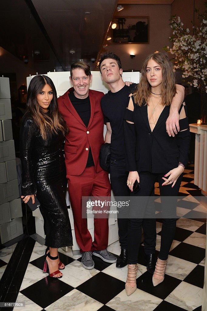 Kim Kardashian West, Eddie Roche, Remi Barbier and Sama Khadra attend The Daily Front Row Fashion Los Angeles Awards Private Dinner Hosted By Eva Chow And Carine Roitfeld at Mr Chow on March 20, 2016 in Beverly Hills, California.