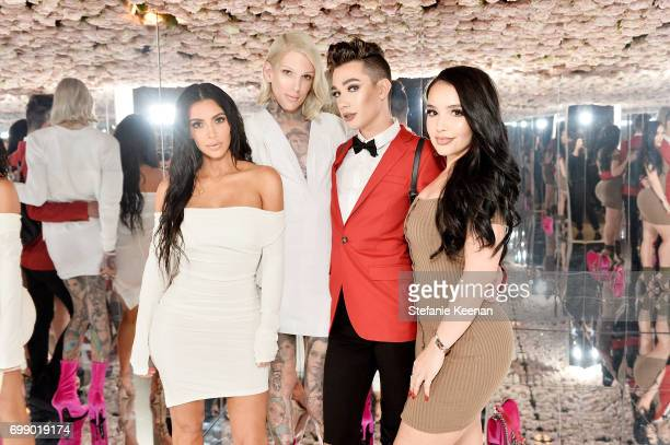 Kim Kardashian West Jeffree Star James Charles and Amanda Ensing celebrates The Launch Of KKW Beauty on June 20 2017 in Los Angeles California