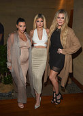 Kim Kardashian West Kylie Jenner Khloe Kardashian host a dinner and preview of their new apps launching soon at Nobu Malibu on September 1 2015 in...