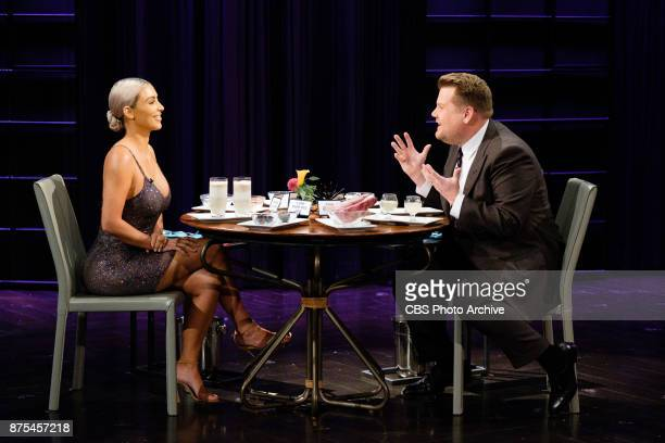 Kim Kardashian West plays Spill Your Guts or Fill Your Guts with James Corden during 'The Late Late Show with James Corden' Wednesday November 15...