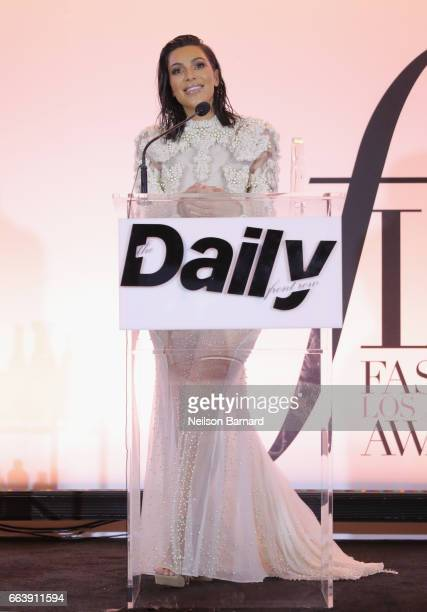 Kim Kardashian West speaks onstage during the Daily Front Row's 3rd Annual Fashion Los Angeles Awards at Sunset Tower Hotel on April 2 2017 in West...