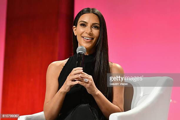 Kim KardashianWest speaks at The Girls' Lounge dinner giving visibility to women at Advertising Week 2016 at Pier 60 on September 27 2016 in New York...