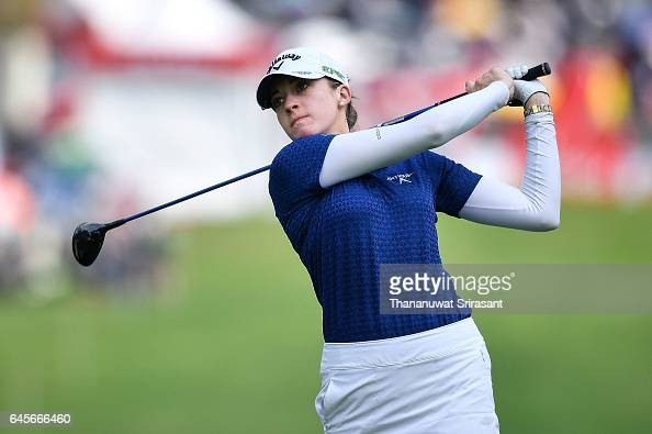 Kim Kaufman of United States plays the shot during the final round of Honda LPGA Thailand at Siam Country Club on February 26 2017 in Chonburi...