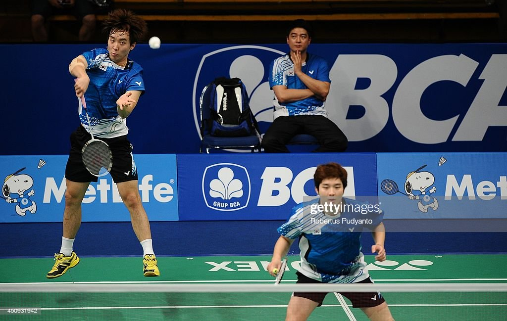 Kim Ki Jung and Kim Sa Rang of Korea return a shot against Lee Sheng Mu and Tsai Chia Hsin of Taipei during the BCA Indonesia Open 2014 MetLife BWF...
