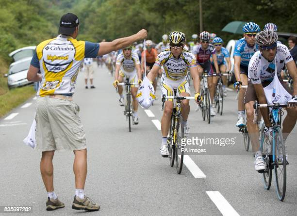 Kim Kirchen collects a food bag in the feedzone during the 10th Stage of the Tour De France in Limoges France