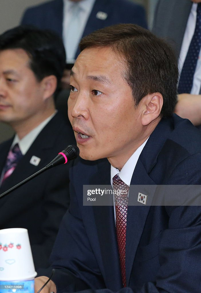 Kim Ki-Woong, the head of South Korea's working-level delegation attends the working-level talks at Kaesong Industrial District Management Committee on July 22, 2013 in Kaesong, North Korea. North and South Korea today began a fifth round of conversations on reopening the Kaesong joining industrial complex, after four other meetings failed to result in an agreement. North Korea withdrew over 50,000 of its staff from the factories owned by Seoul in April of this year, and South Korea removed managers in May, during the height of tensions between the two nations.