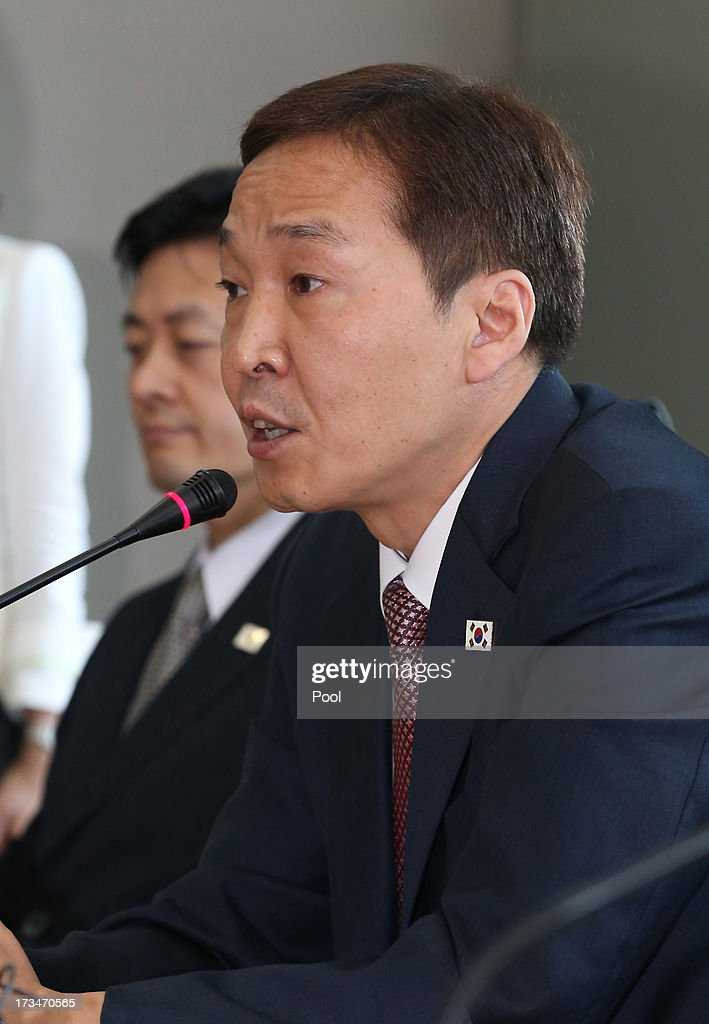 Kim Ki-Woong, the head of South Korea's working-level delegation talks with North Korean delegations during a meeting at Kaesong Industrial District Management Committee on July 15, 2013 in Kaesong, North Korea. Talks continue today after two previous meetings failed to come to a resolution over resuming operations at the Kaesong Joint Industrial Park 10 kilometres north of the border. North Korea withdrew over 50,00 of it's staff from the factories owned by Seoul in April of this year, and South Korea removed managers in May, during the height of tensions between the two nations.