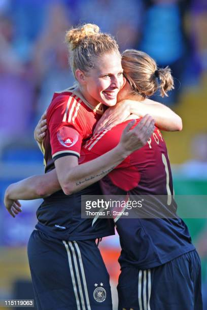 Kim Kulig and Alexandra Popp of Germany celebrate during the Women's International friendly match between Germany and Italy at the Osnatel Arena on...