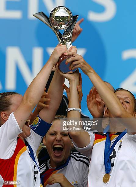 Kim Kulig of Germany celebrates after winning the 2010 FIFA Women's World Cup Final match between Germany and Nigeria at the FIFA U20 Women's World...