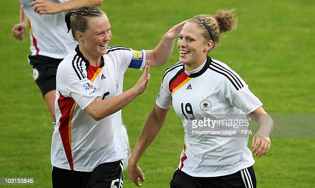 Kim Kulig of Germany celebrates scoring the second goal with Marina Hegering during the FIFA U20 Women's World Cup Semi Final match between Germany...