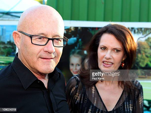 Kim Ledger and Sally Bell talk to the media during a Heath Ledger tribute outdoor movie night at Burswood Park on February 12 2011 in Perth Australia...
