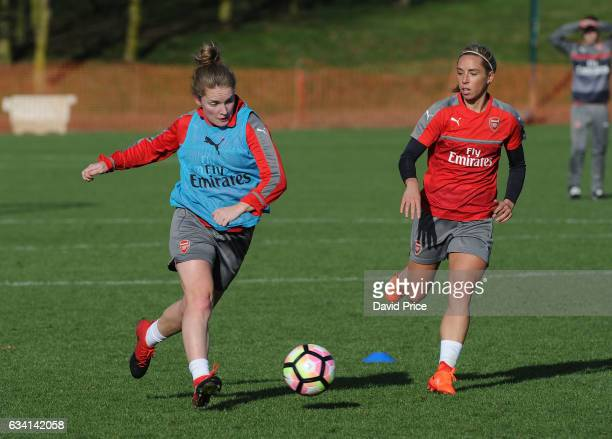 Kim Little and Jordan Nobbs of Arsenal Ladies during Arsenal Ladies Training Session at London Colney on February 7 2017 in St Albans England