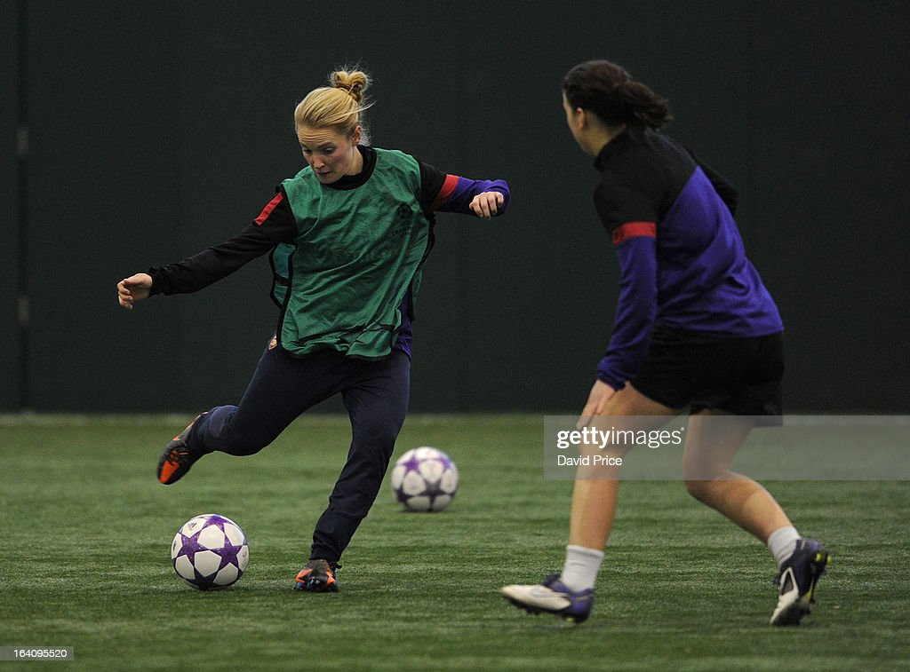 Kim Little is closed down by Niamh Fahey of Arsenal Ladies during an Arsenal Ladies Training Session at Arsenal Training Ground on March 19, 2013 in St. Albans, Hertfordshire, England.