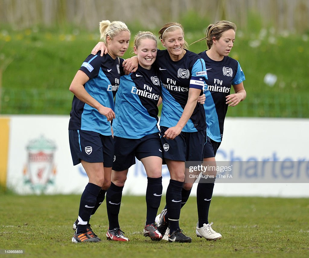 Kim Little of Arsenal celebrates after scoring the second goal of the game for her side during the FA Women's Super League match between Liverpool...