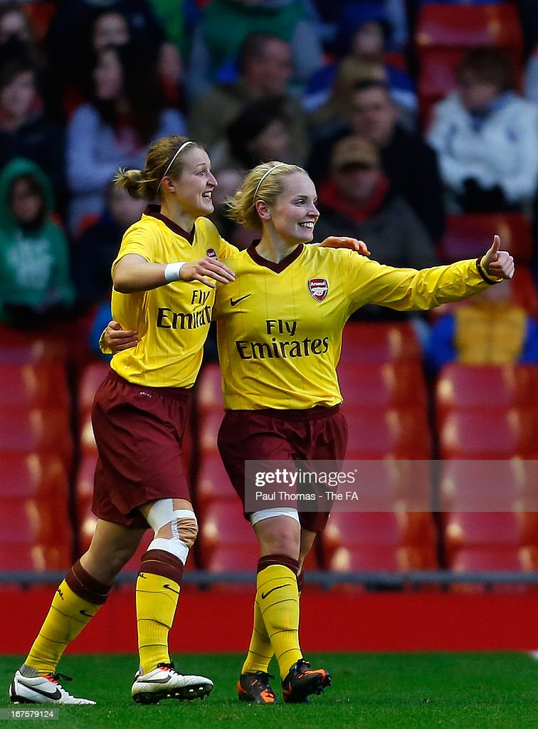 Kim Little (R) of Arsenal celebrates her goal with team mate <a gi-track='captionPersonalityLinkClicked' href=/galleries/search?phrase=Ellen+White&family=editorial&specificpeople=4436830 ng-click='$event.stopPropagation()'>Ellen White</a> during the Womens FA Cup Semi Final match between Liverpool Ladies FC and Arsenal Ladies FC at Anfield on April 26, 2013 in Liverpool, England.