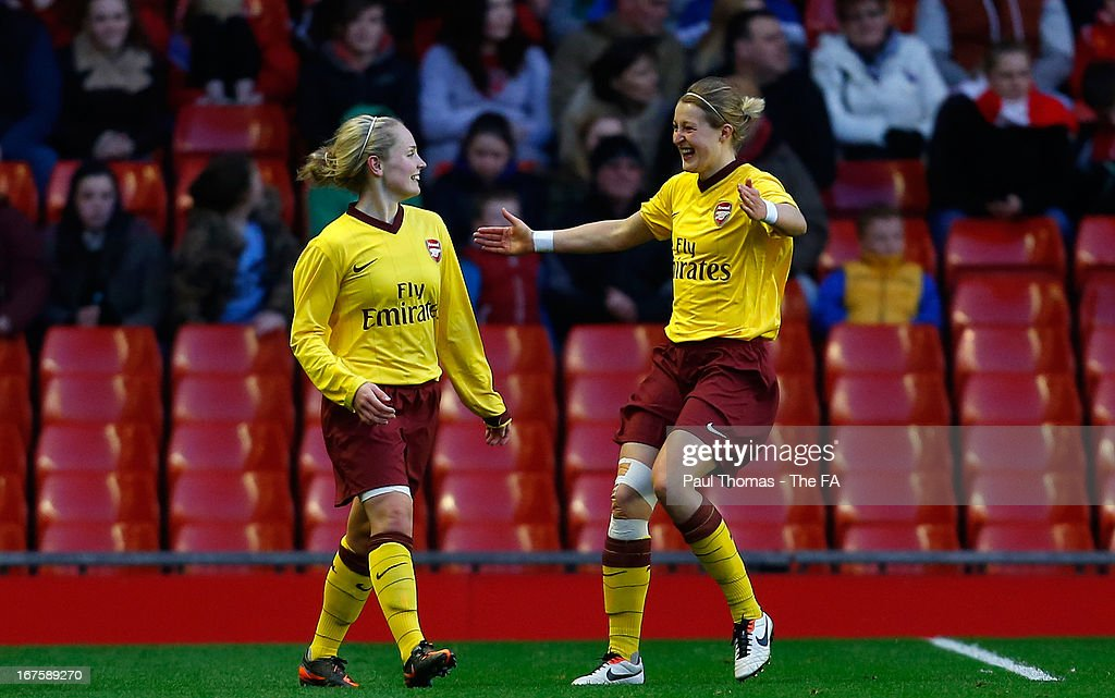 Kim Little (L) of Arsenal celebrates her goal with team mate <a gi-track='captionPersonalityLinkClicked' href=/galleries/search?phrase=Ellen+White&family=editorial&specificpeople=4436830 ng-click='$event.stopPropagation()'>Ellen White</a> during the Womens FA Cup Semi Final match between Liverpool Ladies FC and Arsenal Ladies FC at Anfield on April 26, 2013 in Liverpool, England.