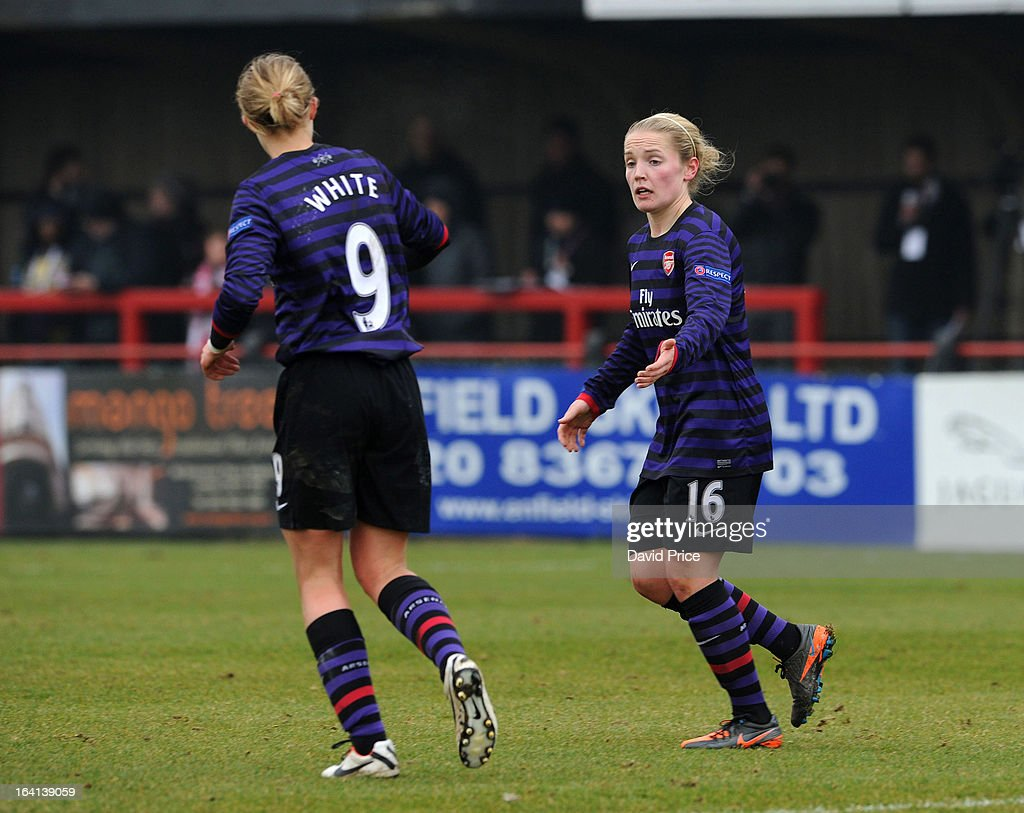 Kim Little (R) of Arsenal Ladies FC celebrates with team-mate <a gi-track='captionPersonalityLinkClicked' href=/galleries/search?phrase=Ellen+White&family=editorial&specificpeople=4436830 ng-click='$event.stopPropagation()'>Ellen White</a> after scoring their 3rd goal during the Women's Champions League Quarter Final match between Arsenal Ladies FC and ASD Torres CF at Meadow Park on March 20, 2013 in Borehamwood, United Kingdom.
