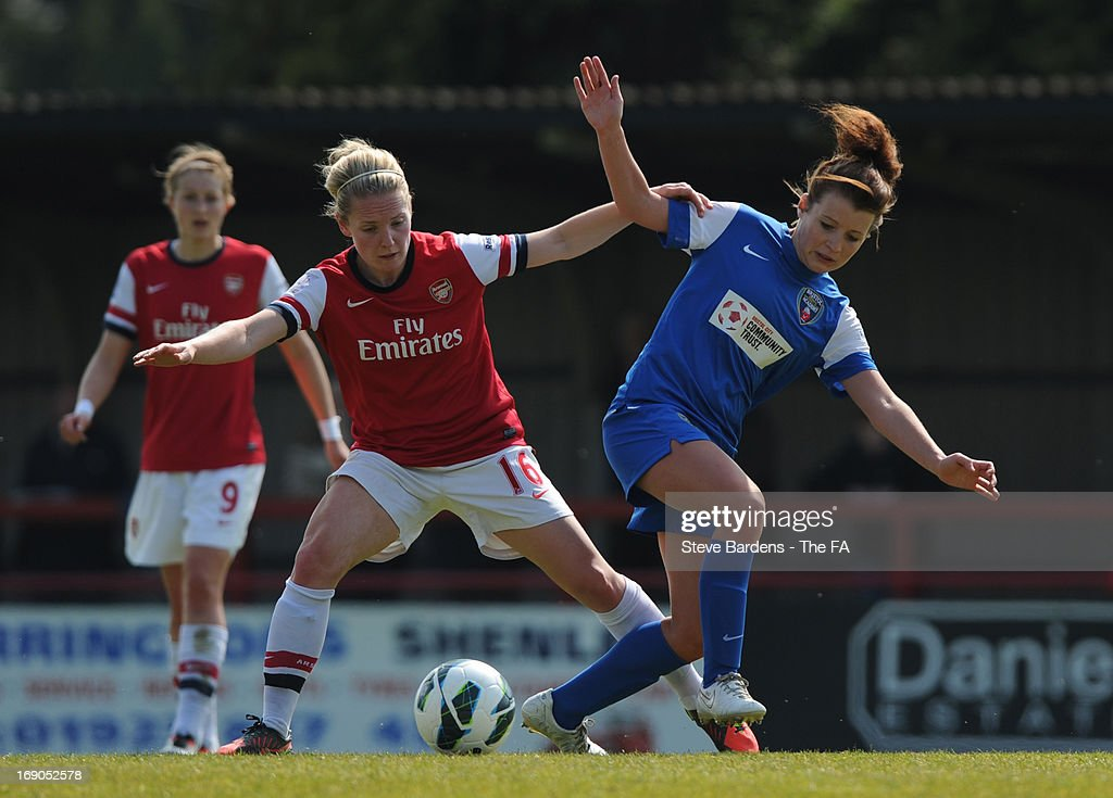 Kim Little of Arsenal Ladies FC challenges for the ball with Angharad James of Bristol Academy Women's FC during the FA WSL Continental Cup match between Arsenal Ladies FC and Bristol Academy at Meadow Park on May 19, 2013 in Borehamwood, England.