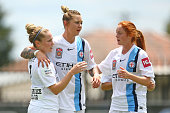 Kim Little of City FC celebrates with Larissa Crummer and Beatrice Goad after scoring the first goal during the round 12 WLeague match between...