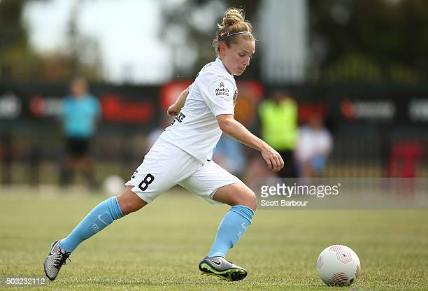 Kim Little of City FC kicks the ball during the round 12 WLeague match between Melbourne City FC and the Western Sydney Wanderers at CBSmith Reserve...