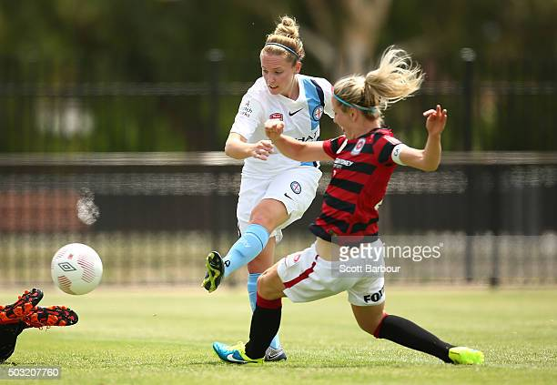 Kim Little of City FC shoots to score the first goal during the round 12 WLeague match between Melbourne City FC and the Western Sydney Wanderers at...