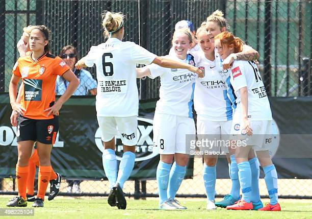 Kim Little of City is congratulated by her teammates after scoring the first goal during the round six WLeague match between Melbourne City and the...