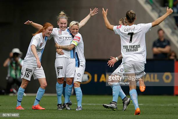 Kim Little of Melbourne City celebrates a goal with team mates during the 2016 WLeague Grand Final match between Melbourne Victory and Sydney FC at...