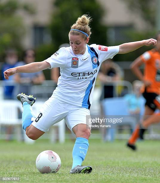 Kim Little of Melbourne City kicks the ball during the round 11 WLeague match between Brisbane Roar and Melbourne City FC at the Broadbeach Soccer...